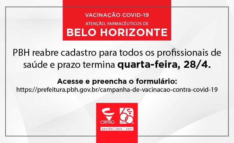 PBH reabre cadastro para vacinar trabalhadores de saúde contra a Covid-19